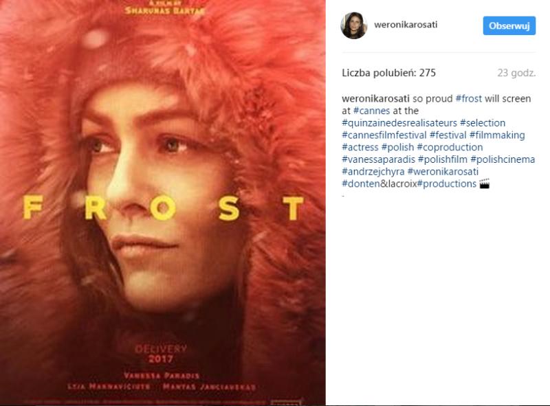 """post Weroniki Rosati dotyczący filmu """"Frost"""""""