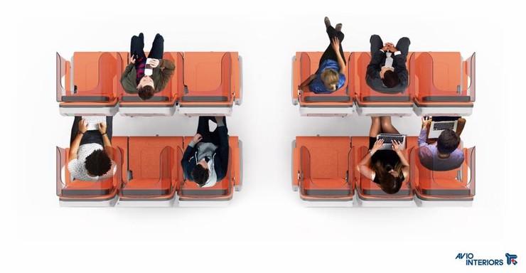 Rzut z góry na rzędy foteli w zestawie Glassafe