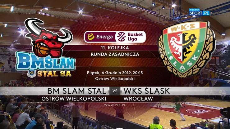 BM Slam Stal Ostrów Wlkp. - WKS Śląsk Wrocław 80:100. Skrót meczu