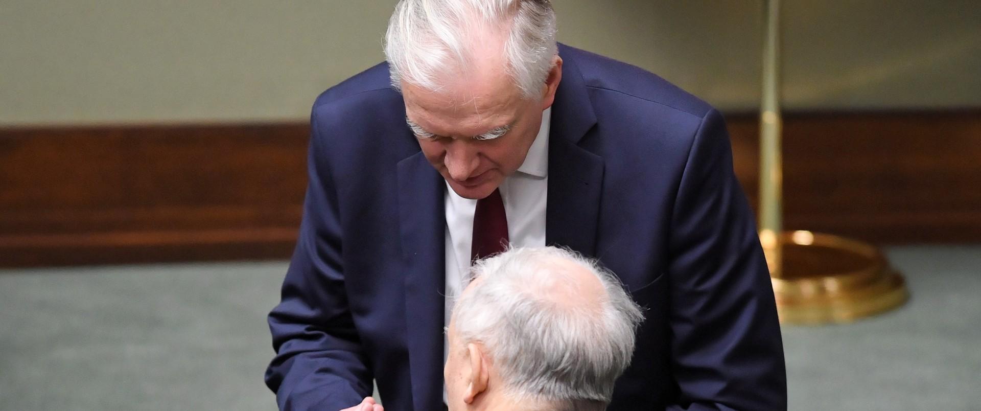 Jarosław Kaczyński i Jarosław Gowin w czasie posiedzenia w Sejmie