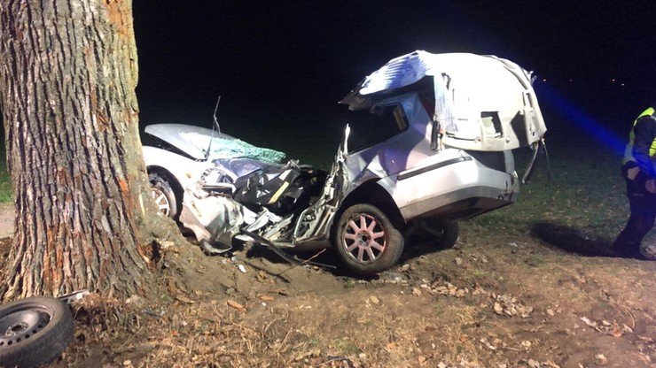 Samochód wypadł z drogi i uderzył w drzewo.  Kierowca i pasażer zginęli na miejscu