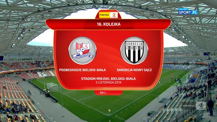 Podbeskidzie Bielsko-Biała - Sandecja Nowy Sącz 3:1. Skrót meczu