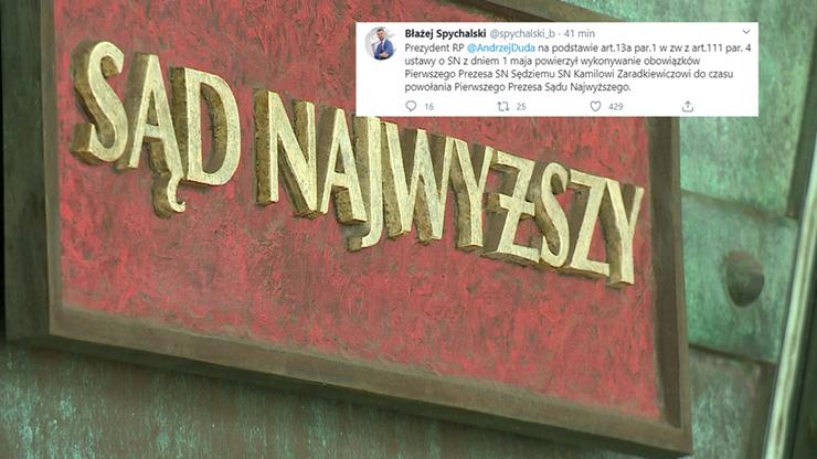 Zaradkiewicz tymczasowo zastąpi Gersdorf w Sądzie Najwyższym - zdecydował prezydent
