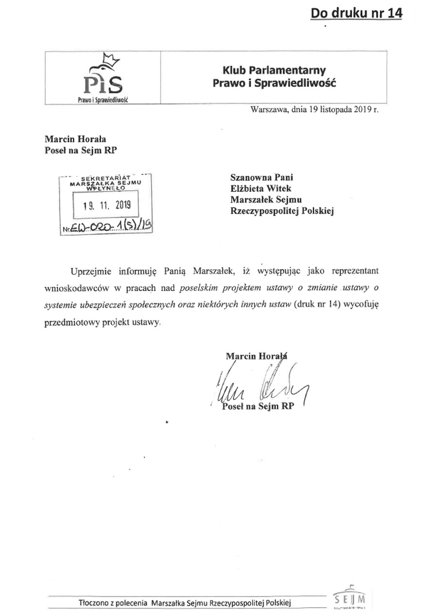 Marcin Horała wysłał pismo do marszałek Witek.