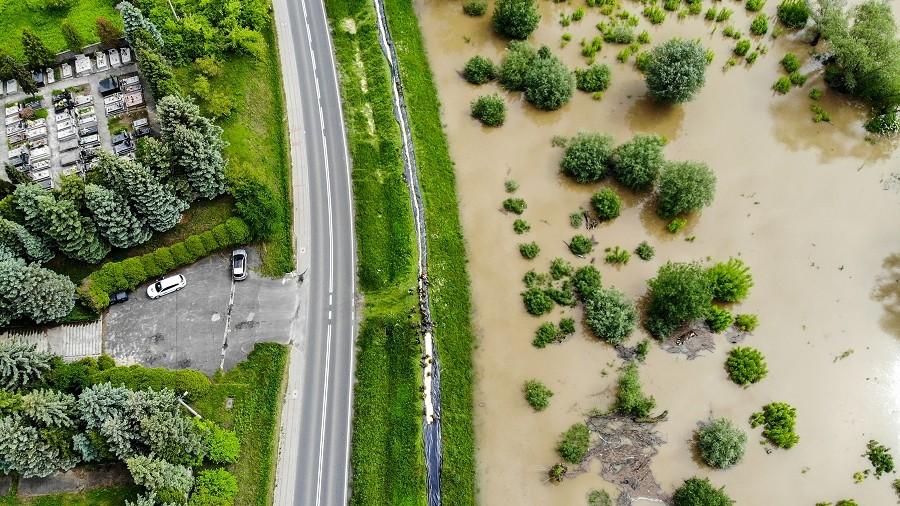 Powódź na Wiśle w 2019 roku widziana z lotu ptaka. Fot. TwojaPogoda.pl