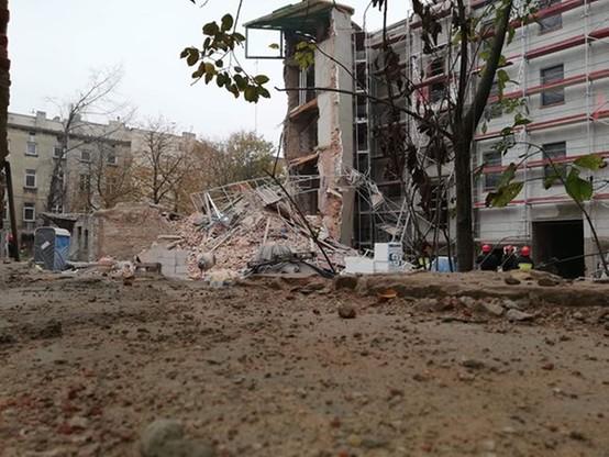 Zawalona kamienica ul. Rewolucji 29 w Łodzi