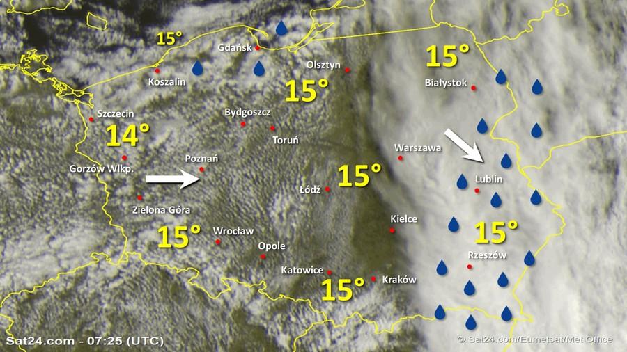 Zdjęcie satelitarne Polski w dniu 7 lipca 2020 o godzinie 9:25. Dane: Sat24.com / Eumetsat.