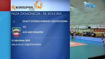 Krispol 1. Liga siatkarzy: Exact Systems Norwid Częstochowa – AZS AGH Kraków 2:3. Skrót meczu