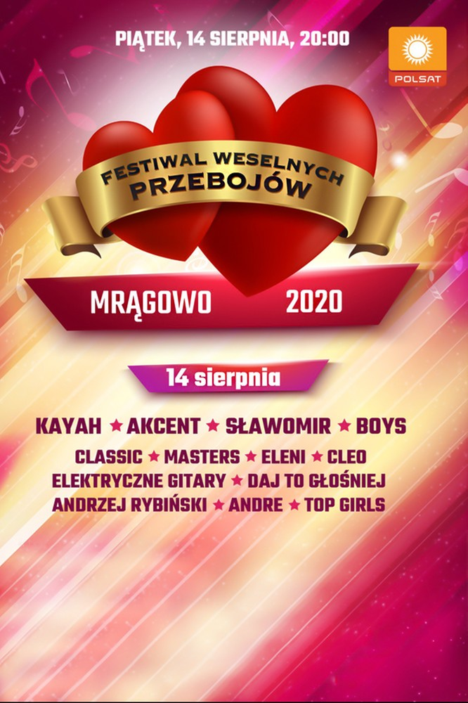 2020-07-29 Festiwal Weselnych Przebojów 2020 14 sierpnia w Polo TV!