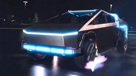 Oto Cybertruck od Tesli jako DeLorean w jednej ze scen Powrotu do przyszłości