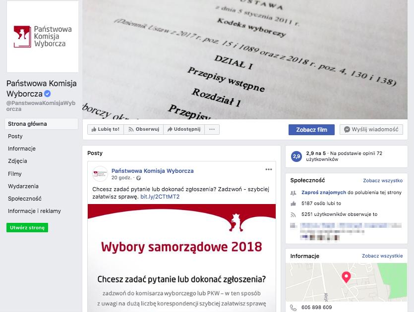 Zrzut ekranu z oficjalną stroną PKW na Facebooku