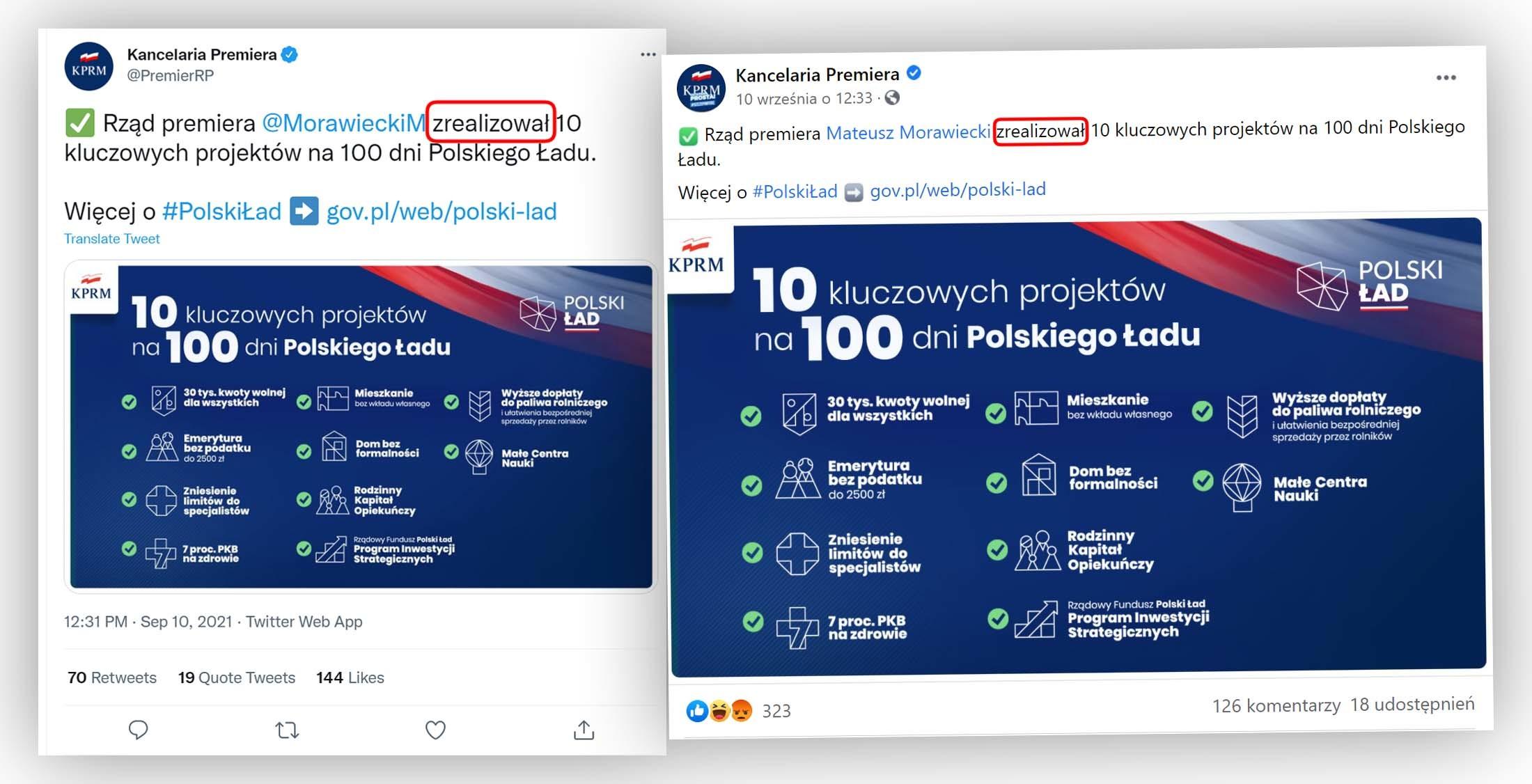 Tak kancelaria premiera informowała na profilach w mediach społecznościowych o stanie realizacji 10 projektów z Polskiego Ładu