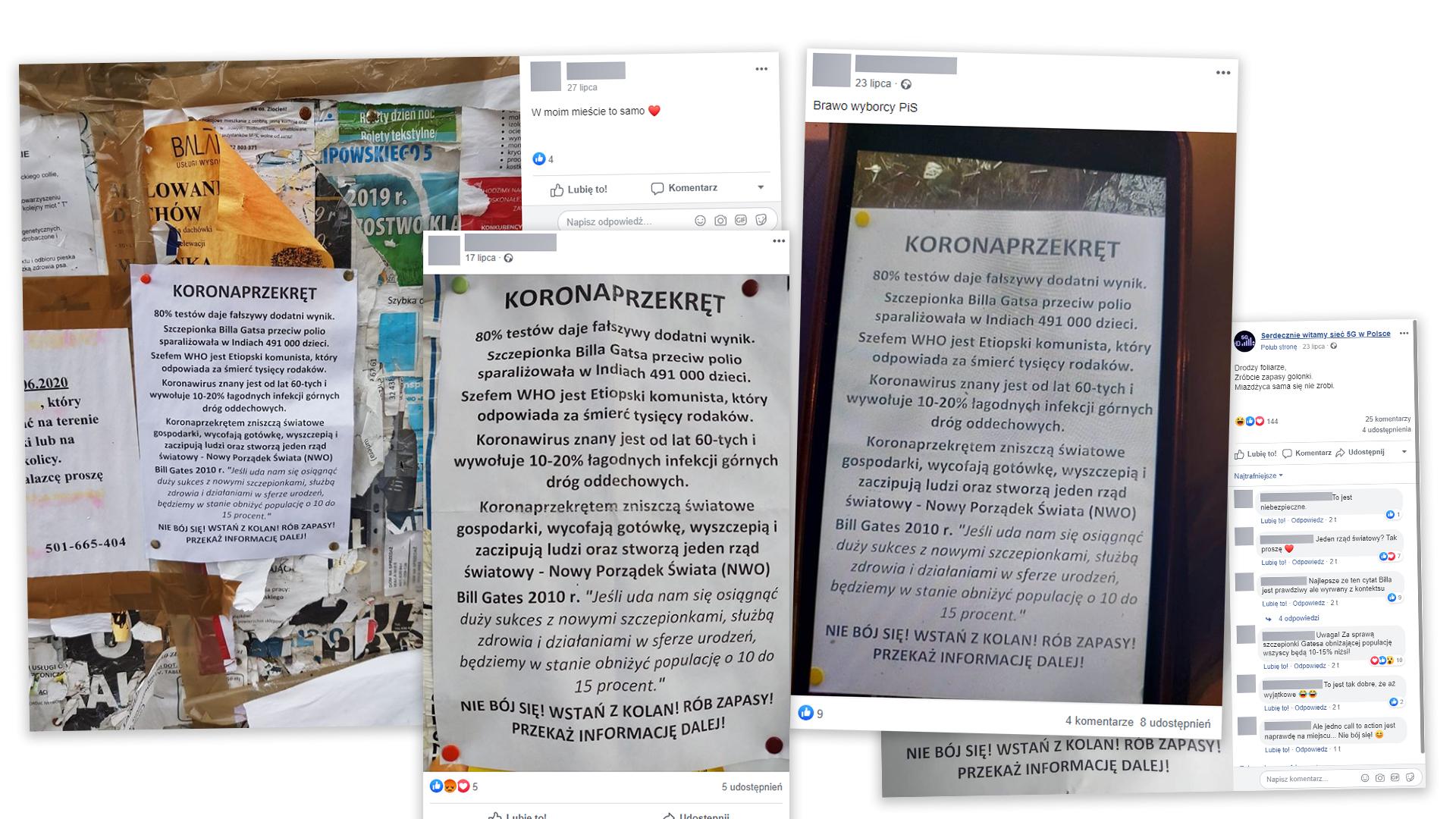 """Zdjęcia internautów, którzy natknęli się na rozwieszone ulotki o """"koronaprzekręcie""""."""