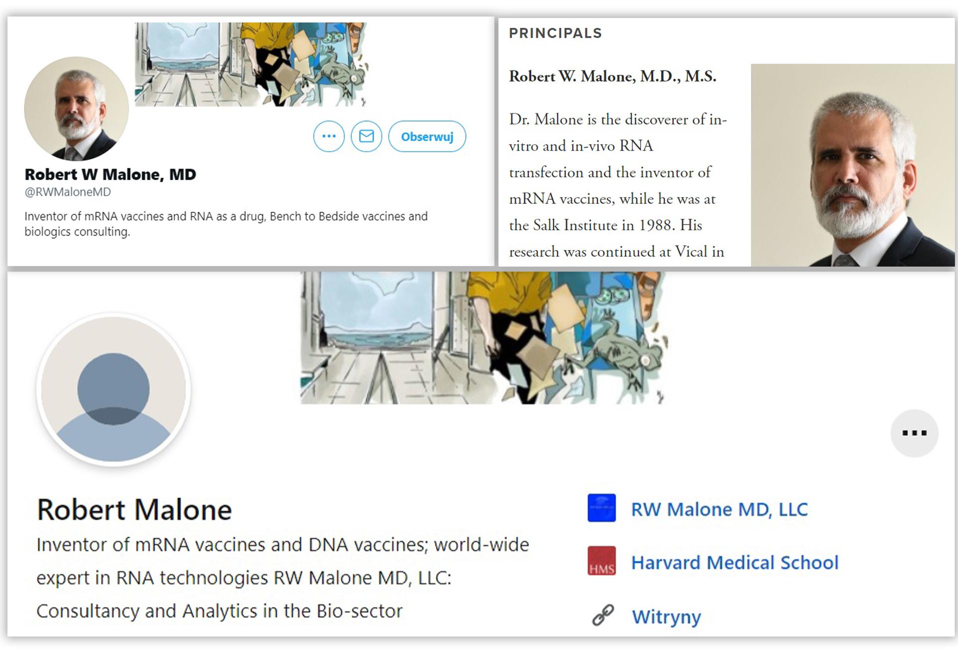 Robert Malone na swoich profilach i stronie internetowej przedstawia się jako wynalazca szczepionki mRNA