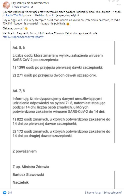 W kwietniu 2021 roku do sieci trafił skan podobnego pisma otrzymanego z Ministerstwa Zdrowia