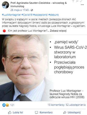 Wpis prof. Agnieszki Szuster-Ciesielskiej na Facebooku