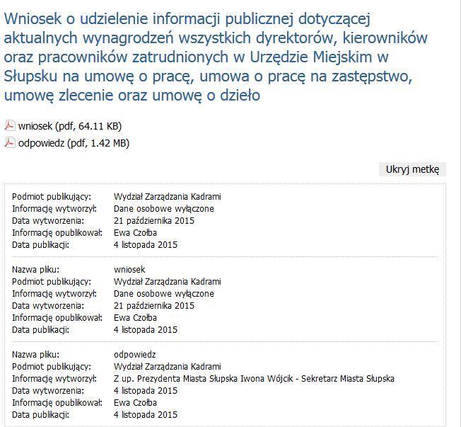 Publikacja odpowiedzi na wniosek o informację publiczną