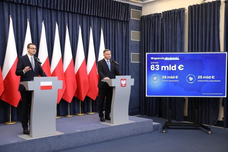 Wspólna konferencja premiera i prezydenta ws. Funduszu Odbudowy