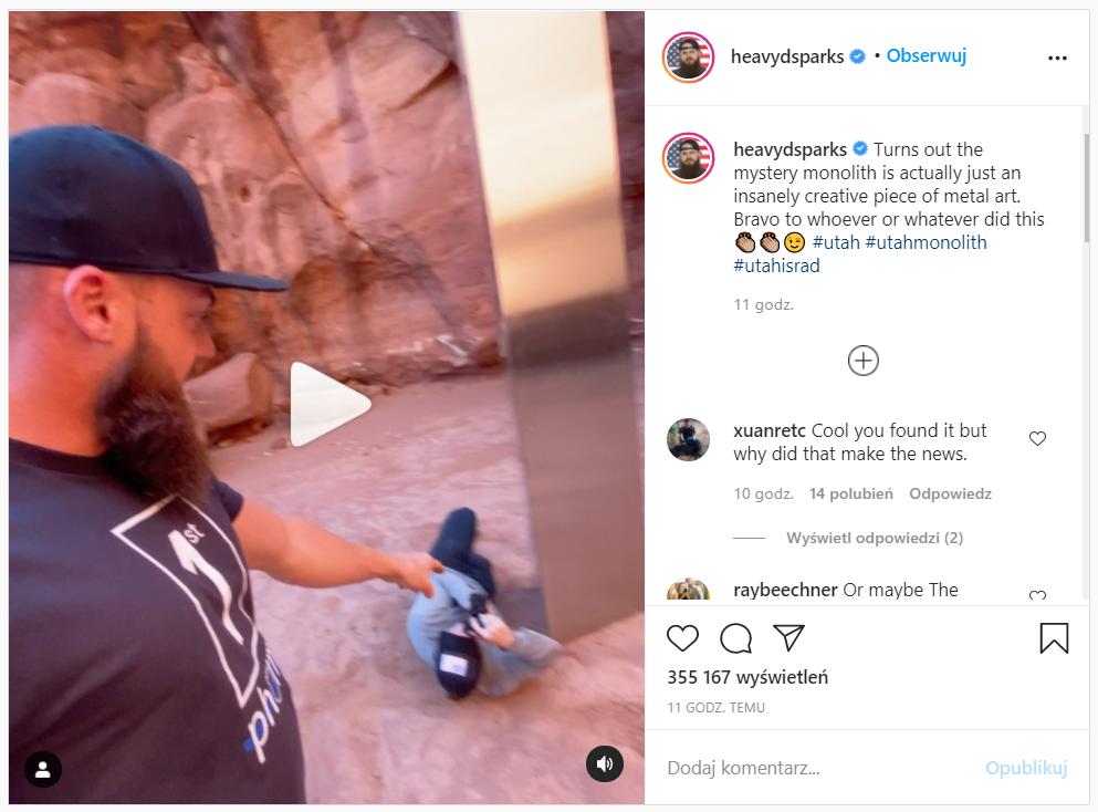 Na Instagramie pojawił się kolejny film z miejsca osadzenia monolitu