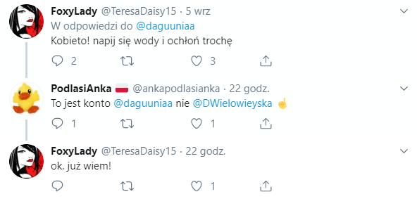 Dyskusja pod wpisem na Twitterze