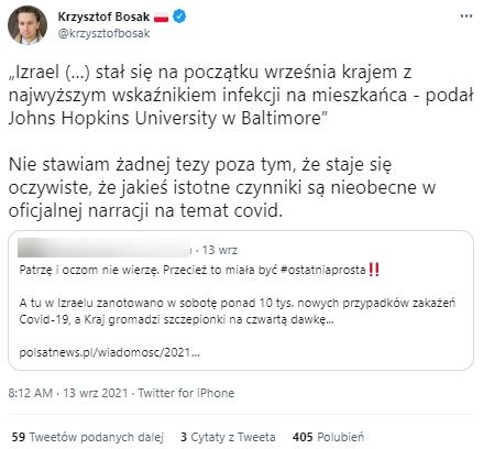 Wpis posła Krzysztofa Bosaka na Twitterze