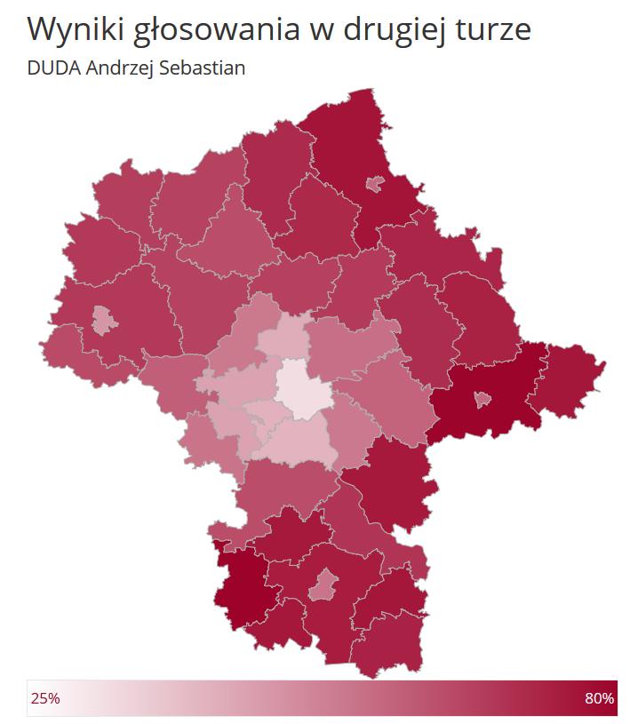 Województwo mazowieckie: wyniki Andrzeja Dudy w drugiej turze wyborów prezydenckich w 2020 roku