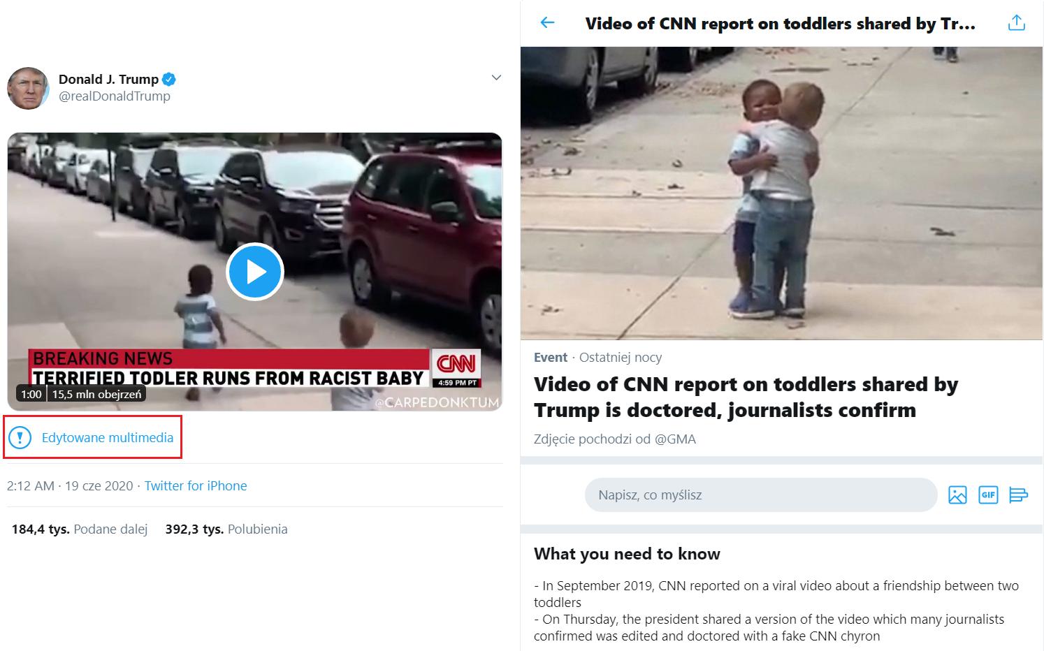 Po lewej: oznaczenie pod wpisem Donalda Trumpa. Po prawej: strona z wyjaśnieniami, do której prowadzi link