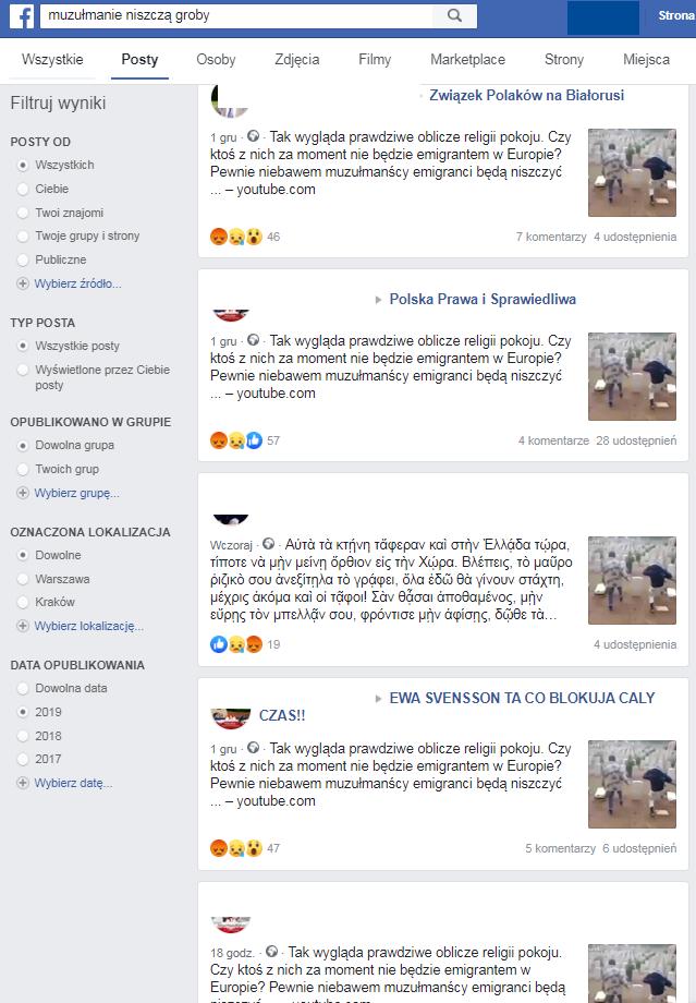Niektóre z wpisów, które ukazały się na Facebooku w ostatnich dniach