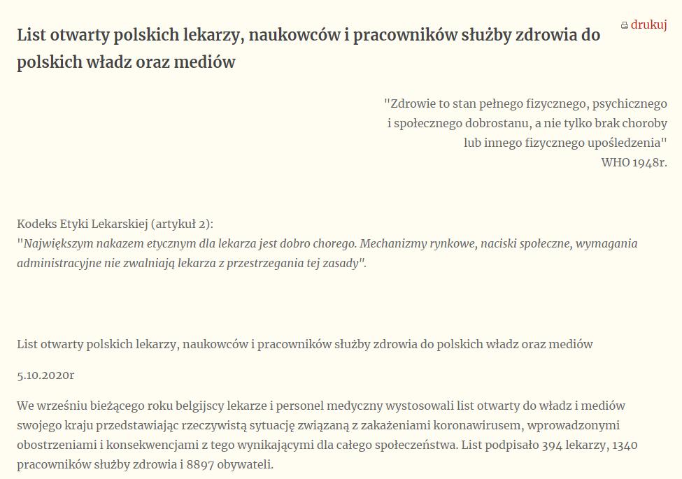 List otwarty polskich lekarzy, naukowców i pracowników służby zdrowia do polskich władz oraz mediów