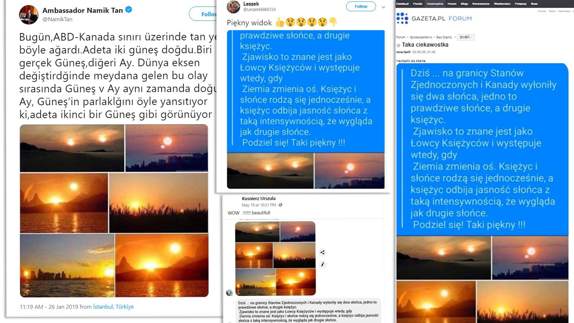 Internetowe wpisy powielające rzekome zdjęcia słońca i księżyca