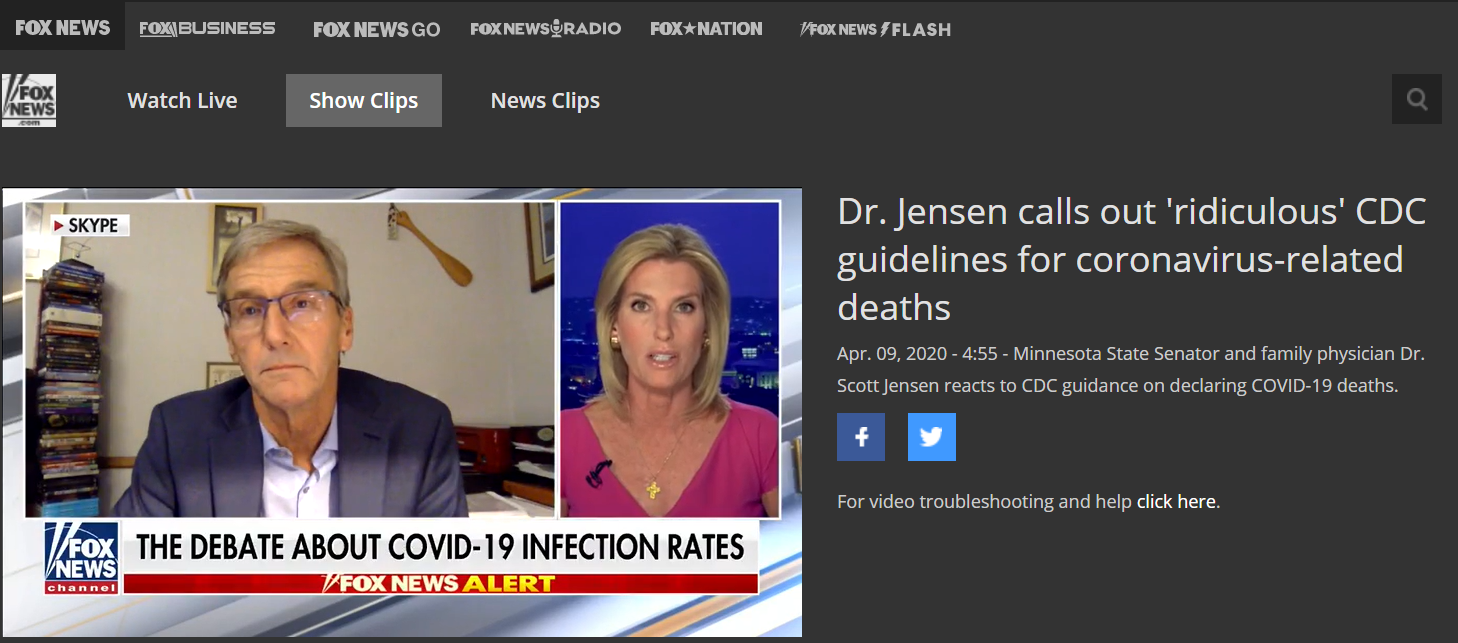 Fragment rozmowy z dr Scottem Jensenem udostępniony na stronie Fox News