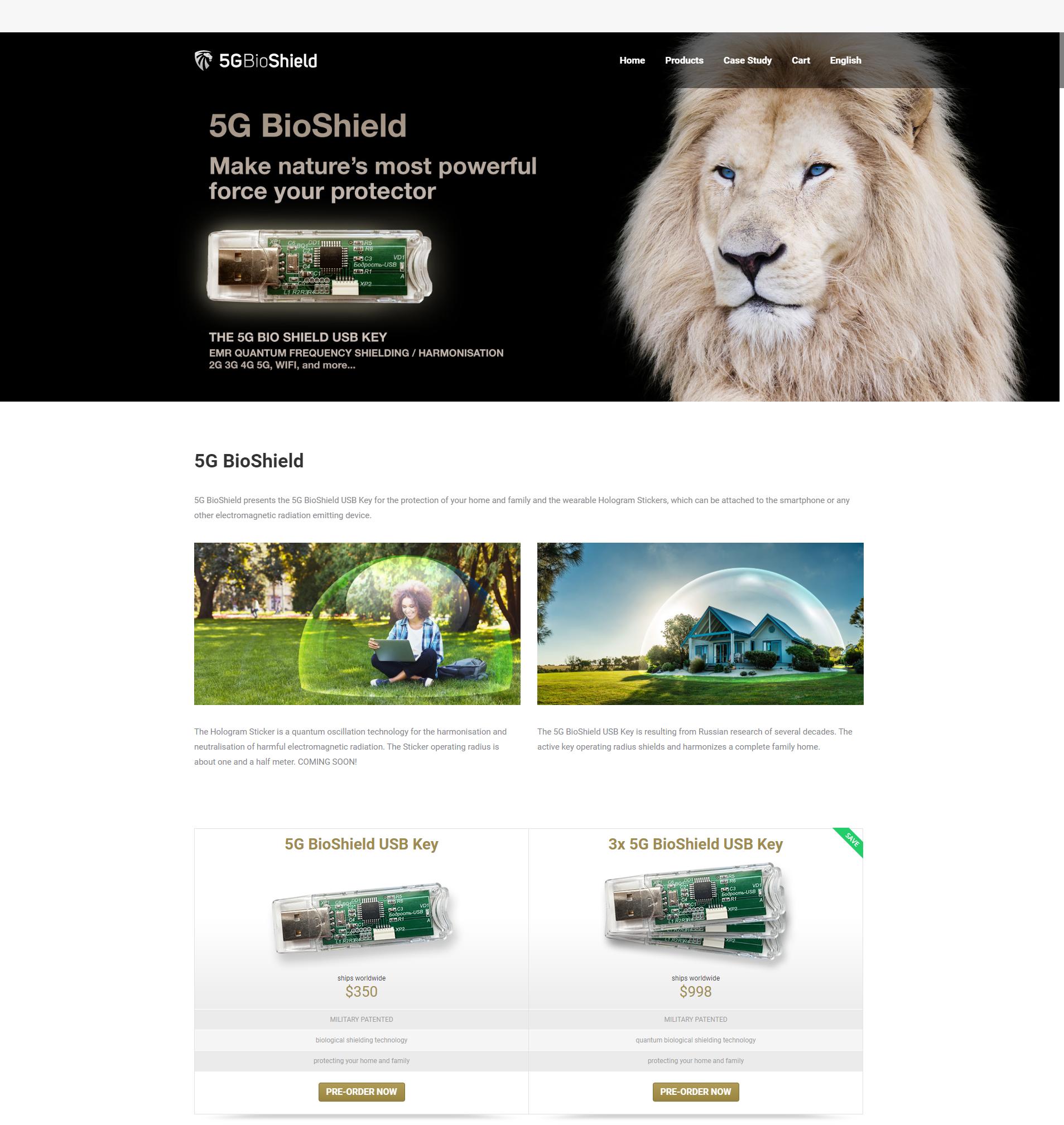 Strona oferująca 5gBioShield w październiku 2019 roku.