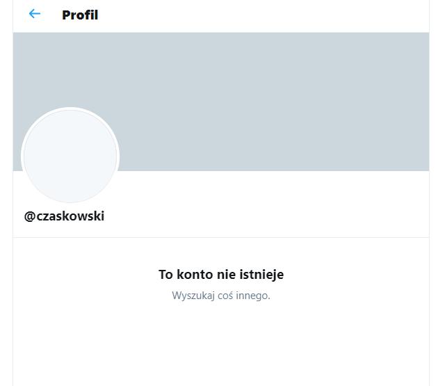Nieistniejące już konto @czaskowski na Twitterze