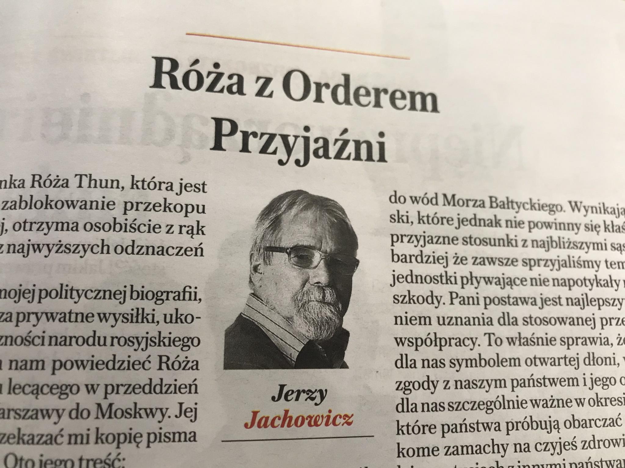 """Felieton Jerzego Jachowicza w tygodniku """"Sieci"""""""