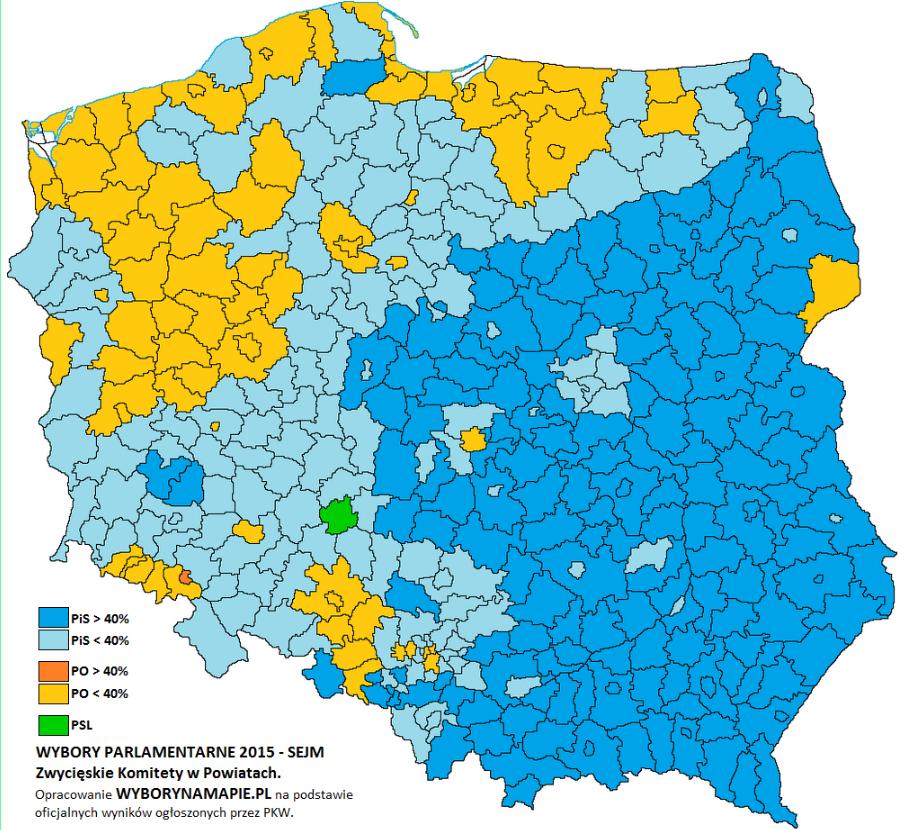 Zwycięskie komitety w powiatach w 2015 roku