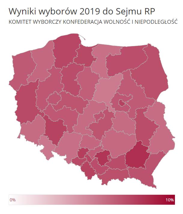 Mapa poparcia w wyborach do Sejmu dla Konfederacji (w skali do 10 proc.)
