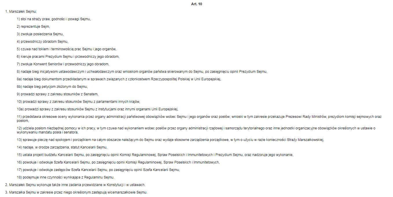 Art. 10 Regulaminu Sejmu