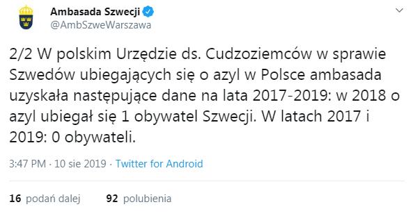 Ambasada Szwecji o azylach