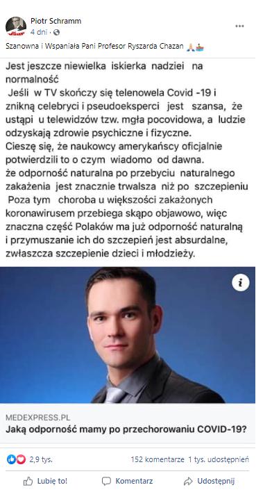 Zrzut ekranu artykułu na profilu Piotra Schramma
