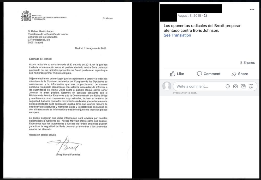 Post przypisujący Josepowi Borrellowi fałszywy list