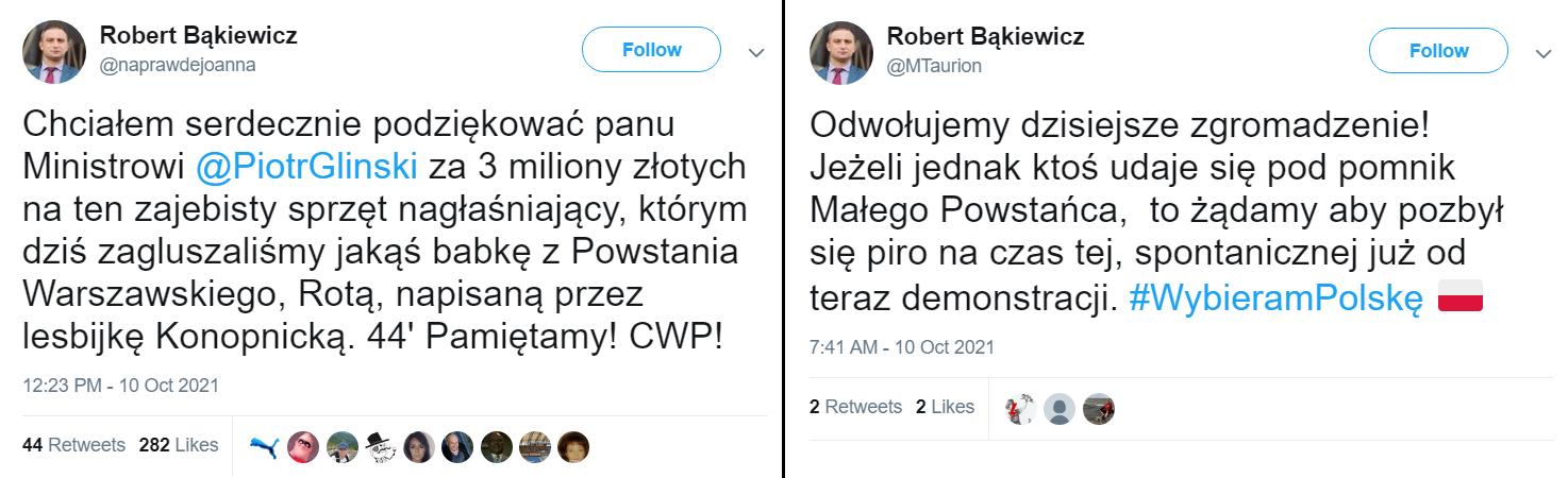 Wpisy z fałszywych kont Roberta Bąkiewicza