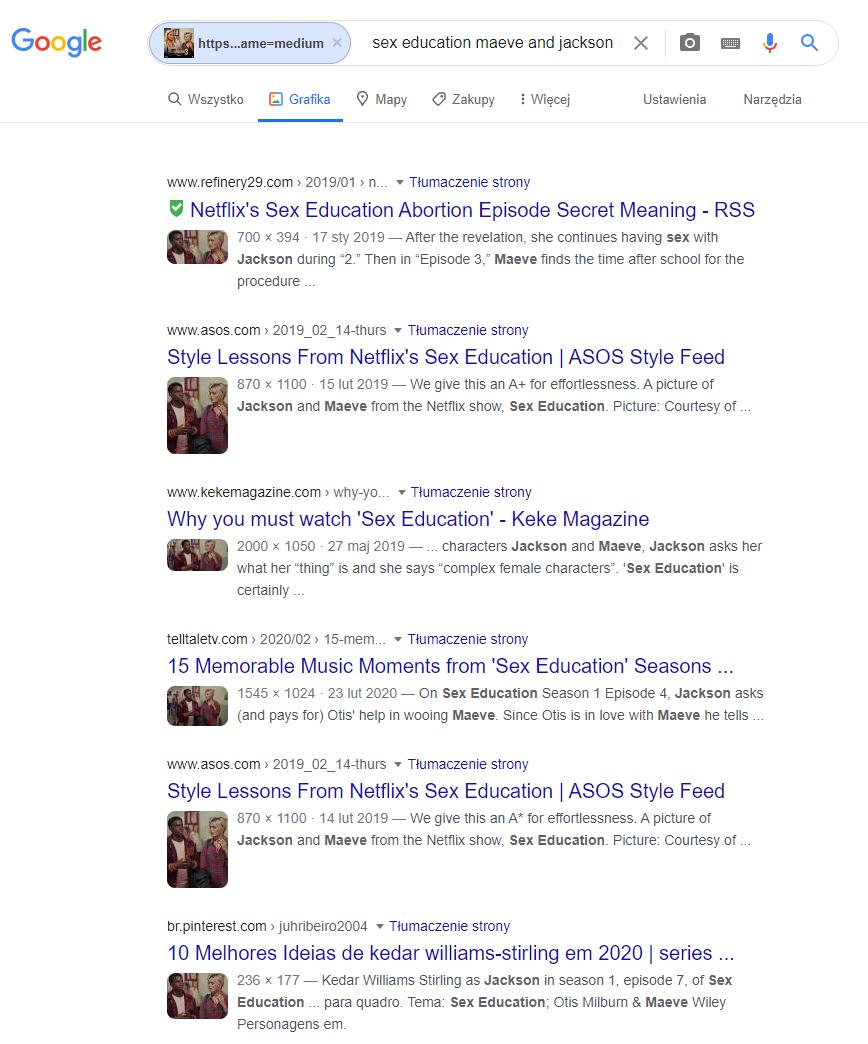 Odwrócone wyszukiwanie obrazem pozwala wyszukać strony z oryginalnym kadrem z serialu