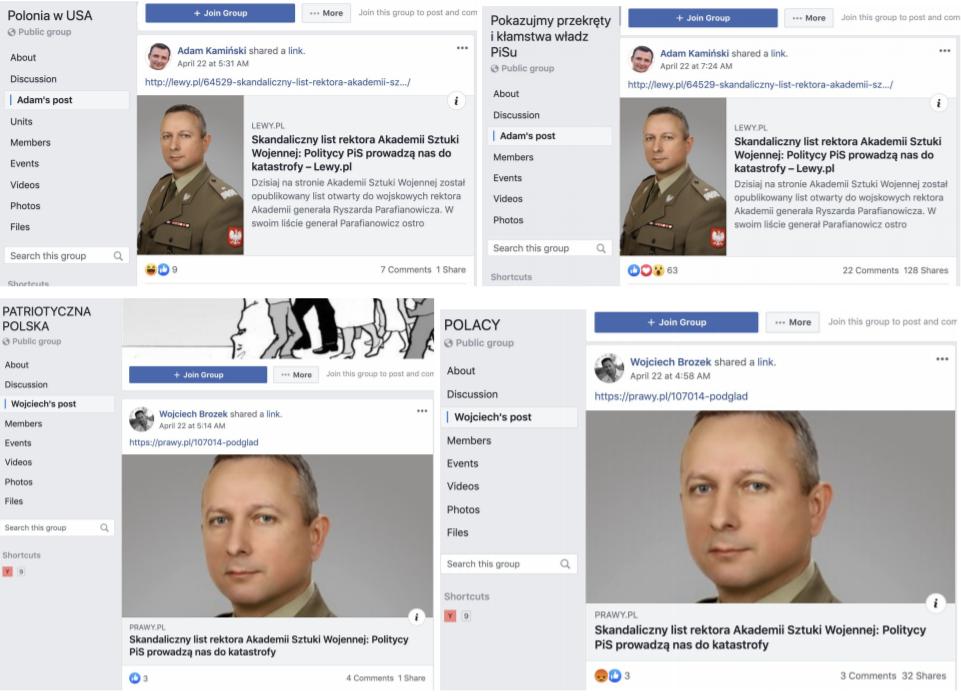 Udostępnienia artykułów o fałszywym liście przez konta Adam Kamiński i Wojciech Brozek w polskich grupach na Facebooku