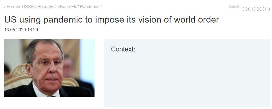 """""""Stany Zjednoczone wykorzystują pandemię do narzucania swojej wizji światowego porządku"""""""