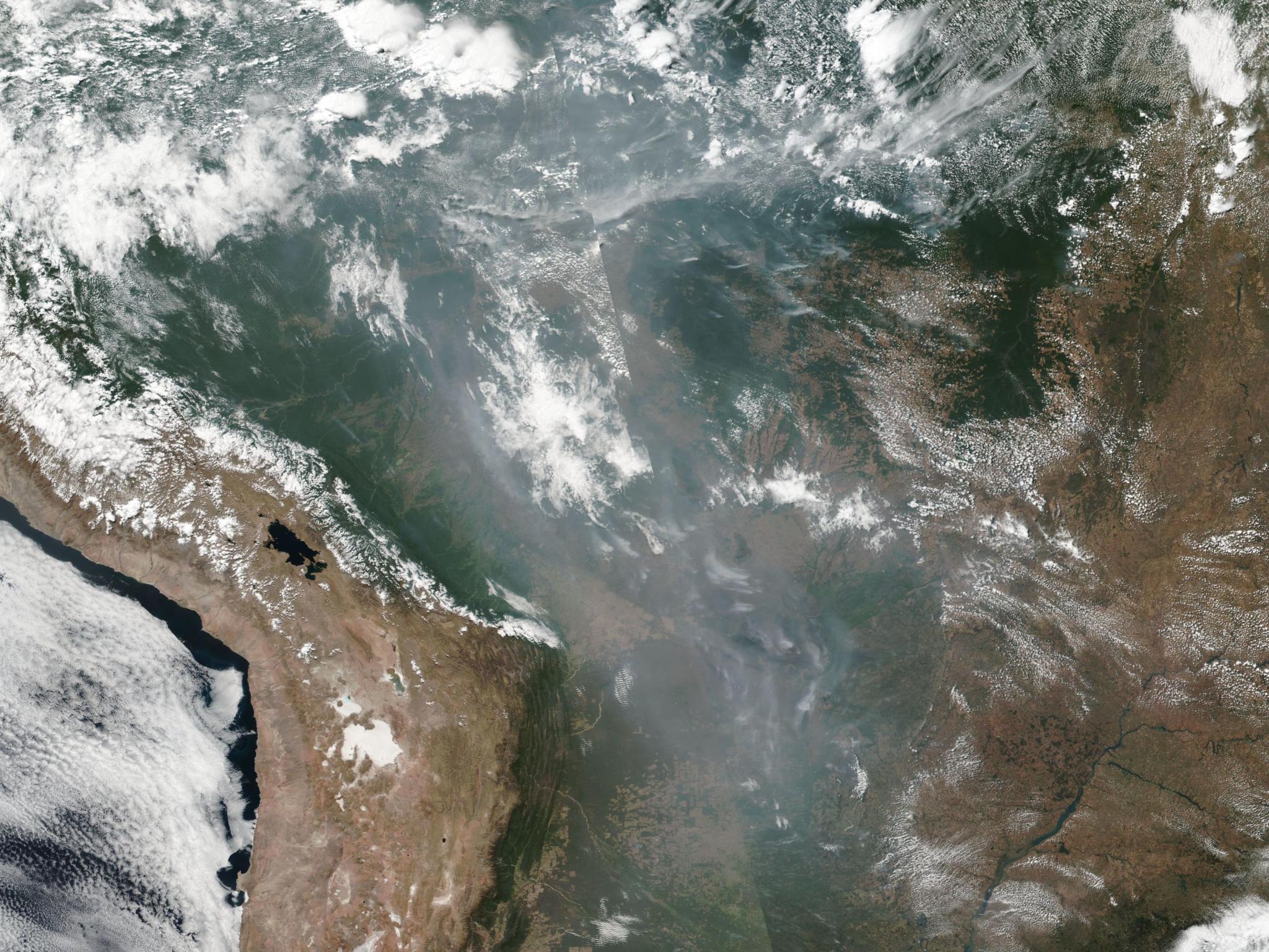 Zdjęcie satelitarne pożarów nad Brazylią, zrobione 20 sierpnia