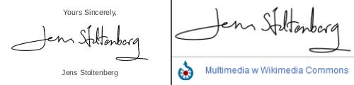 Podpis z listu i wzór podpisu Jensa Stoltenberga zamieszczony w zbiorach Wikipedii