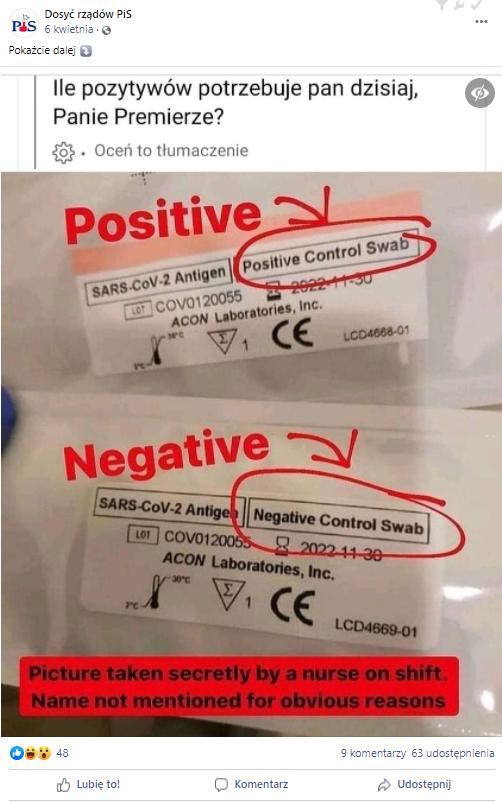 Zdjęcie opakowań wymazówek kontrolnych miało być dowodem na oszustwa przy przeprowadzaniu testów na COVID-19