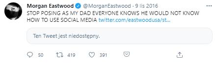 Wpis córki aktora Morgan Eastwood z 2016 roku