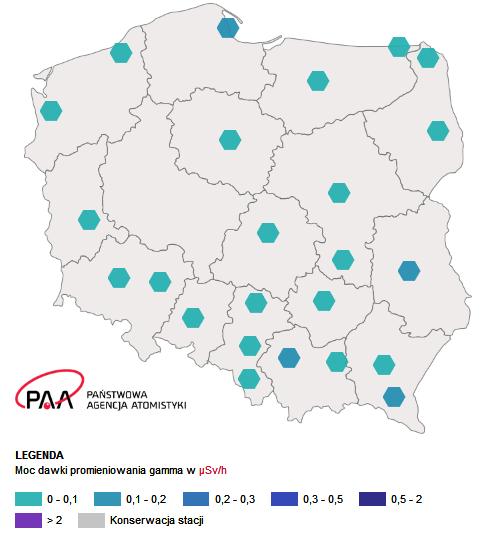 Aktualna mapa sytuacji radiacyjnej w Polsce