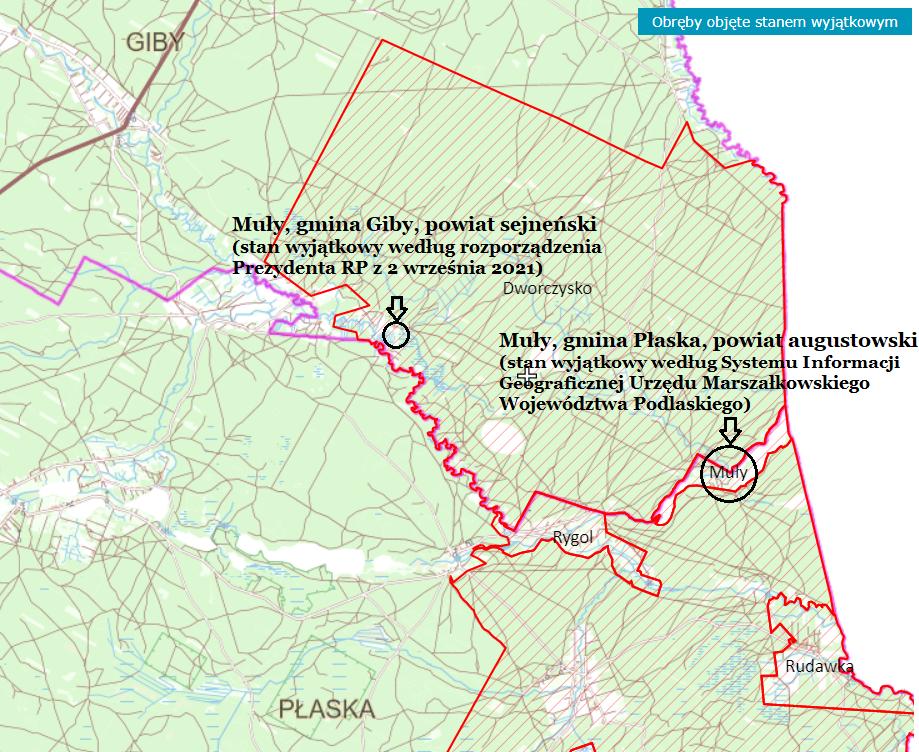 Lokalizacja osady i wsi Muły